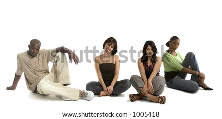 Group of friends sitting - stock photo