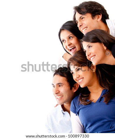 Group of friends smiling and looking away - isolated - stock photo