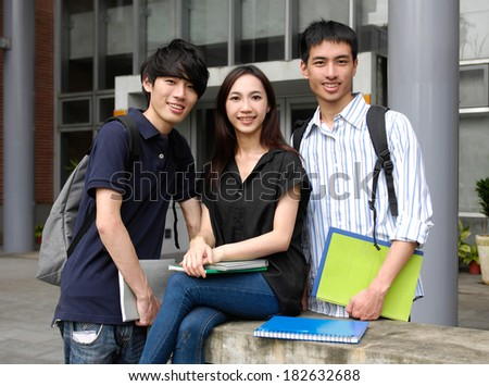 group of friends smiling together - stock photo