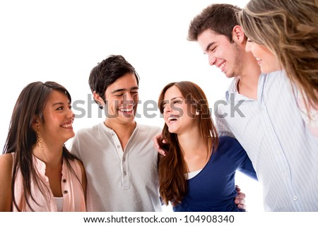 Group of friends talking and having fun - isolated over white - stock photo