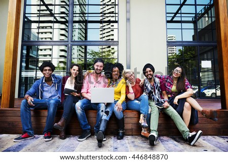 Group of Friends Using Digital Devices Concept - stock photo
