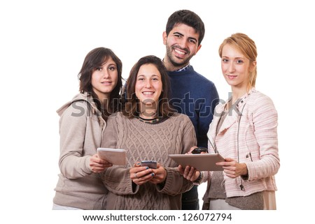 Group of Friends with Digital Devices - stock photo