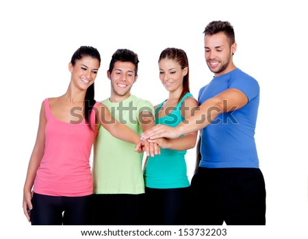 Group of friends with the hands together isolated on a white background