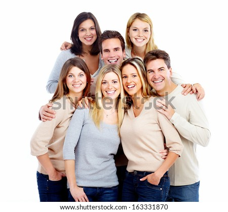 Group of friends young smiling people portrait. - stock photo