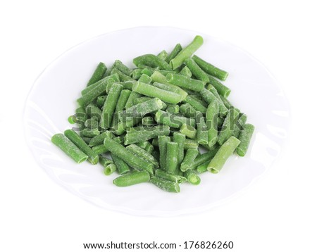 Group of frozen french beans. Isolated on a white background. - stock photo