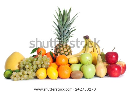 Group of fruits isolated - stock photo