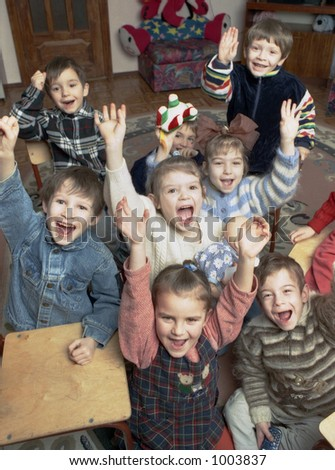 group  of funny children in orphanage - stock photo