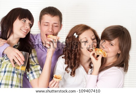 Group of funny young people had a great time with each other - stock photo