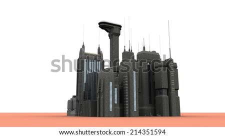 Group of futuristic buildings - stock photo