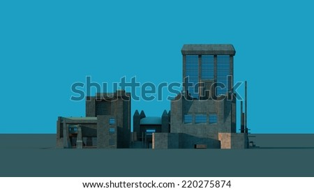Group of futuristic buildings against blue background - stock photo