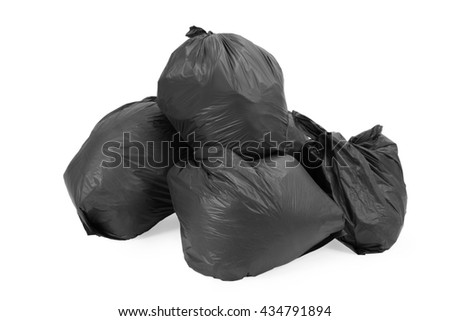 Group of garbage bags, isolated on white background. - stock photo