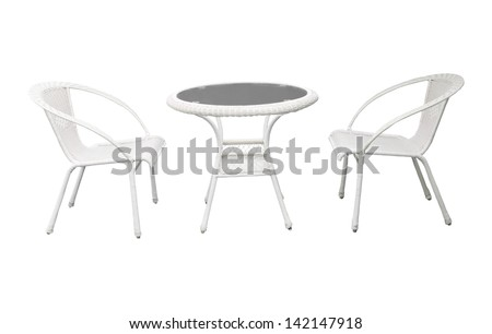 group of garden white  garden  desk and chairs isolated background use for multipurpose - stock photo