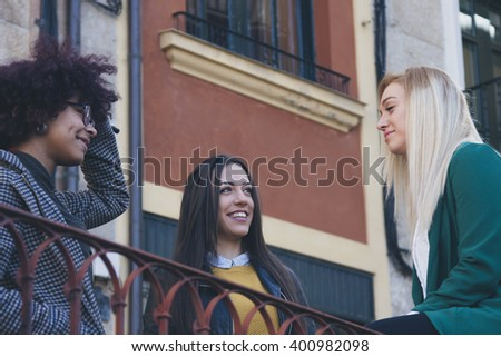 group of girls on the street - stock photo