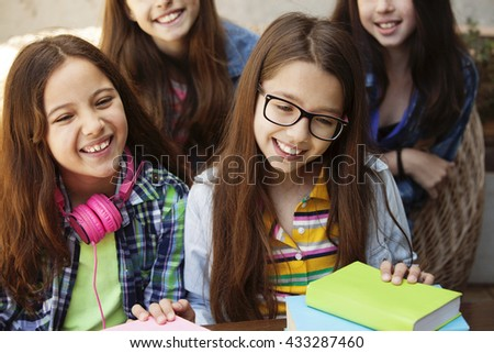 Group of girls studying