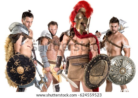 Group of gladiators posing isolated in white