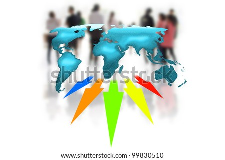 Group of global business people arrows from a world map - stock photo
