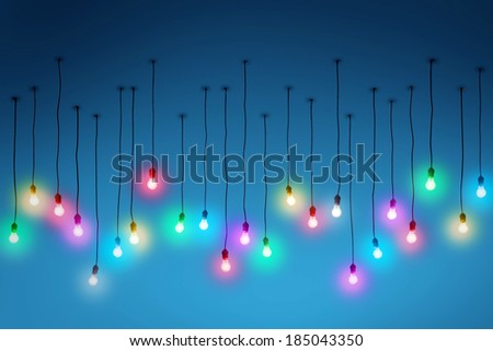 Group of glowing muticolor modern ceiling lights - stock photo