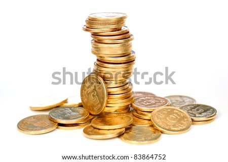 Group of Gold coins tower on white. - stock photo
