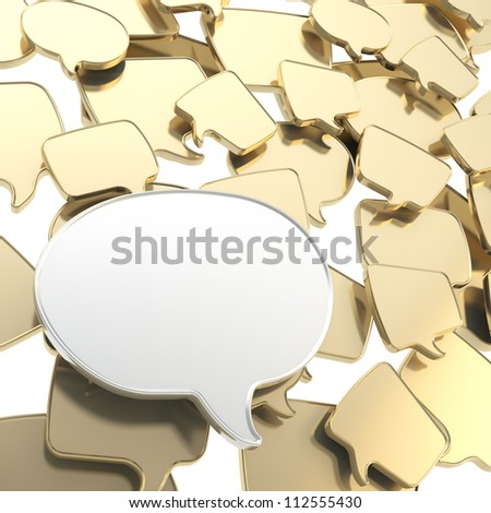 Group of golden glossy speech text bubbles randomly placed as abstract copyspace business communication background - stock photo
