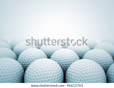 Group of golf balls close up - stock photo
