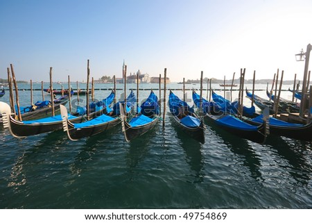 Group of gondolas docked on the water.