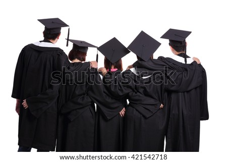Group of graduate students back view isolated on white background - stock photo
