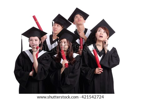 group of graduates student think their future isolated on white background, asian