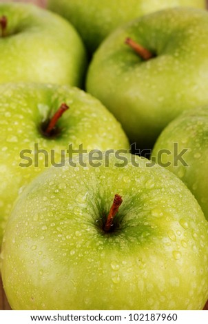 group of green apples with drops of water