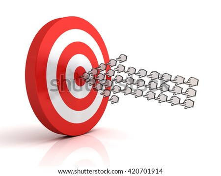 Group of hand cursors forming arrow hitting the center of target or dart board concept isolated over white background with reflection. 3D rendering. - stock photo
