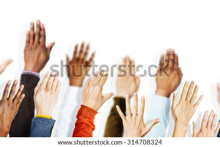 Group of Hands Arms Raised Volunteer Concept - stock photo