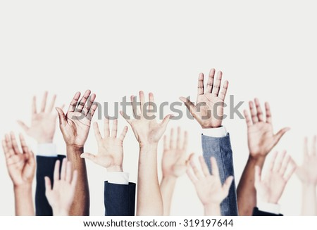 Group of Hands Arms Raised Volunteer Concept
