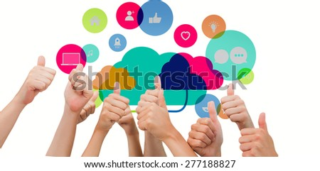 Group of hands giving thumbs up against apps and cloud computing concept