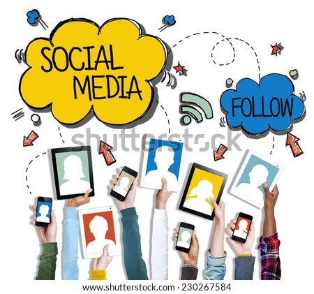 Group of Hands Holding Digital Devices with Social Media Concept - stock photo