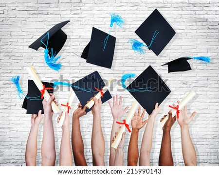 Group of Hands Holding Diplomas and Throwing Graduation Hats in the Air