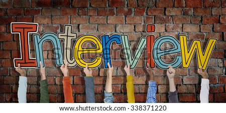 Group of Hands Holding Interview Word Concept - stock photo