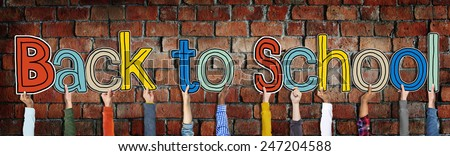 Group of Hands Holding Letter Back to School - stock photo