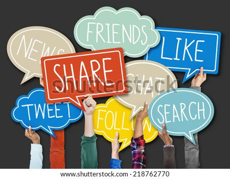 Group of Hands Holding Speech Bubble with Social Issue Concepts - stock photo