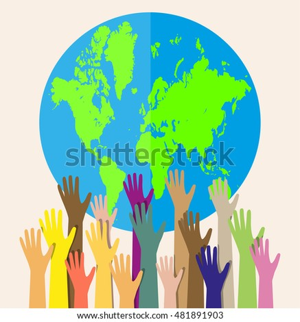 Group of hands of different colors and globe. people of the world. cultural and ethnic diversity. illustration in flat style on white background