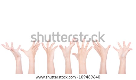 Group of Hands reaching for something isolated on white background