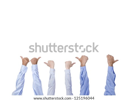 Group of hands with thumbs up isolated in a white background - stock photo