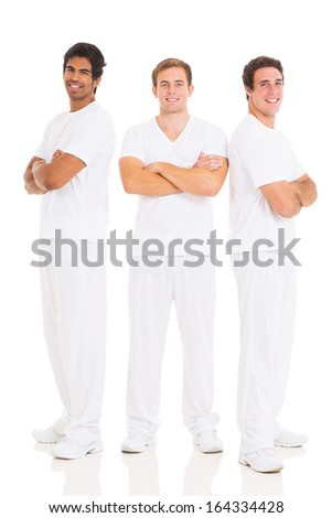 group of handsome friends with arms crossed on white background - stock photo