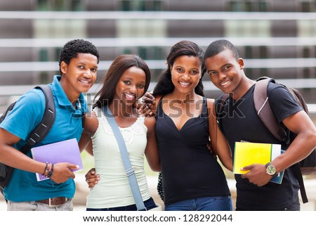 group of happy african college friends - stock photo