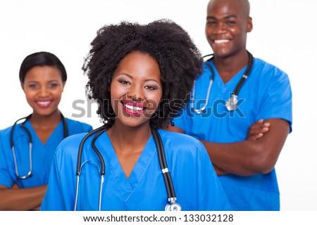 group of happy afro american nurses on white background - stock photo
