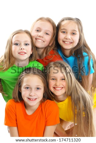 Group of happy beautiful children - stock photo