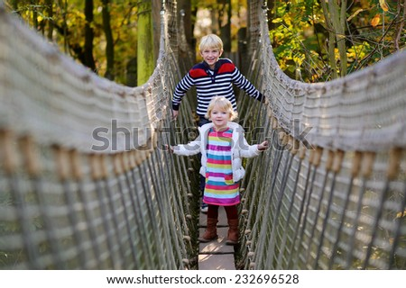 Group of happy blonde children, preschooler girl with her teenage brother having fun at playground on a sunny day climbing on the bridge in adventure park - stock photo