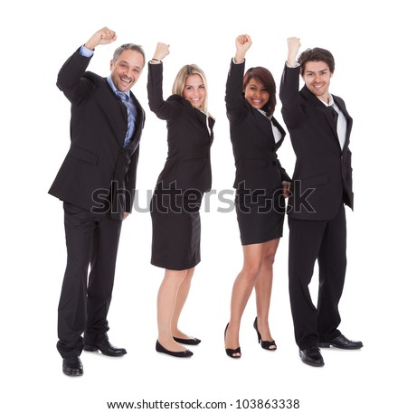 Group of happy business colleagues holding billboard isolated on white background - stock photo