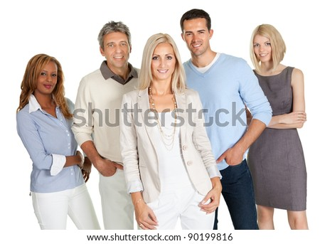 Group of happy business people isolated on white background - stock photo