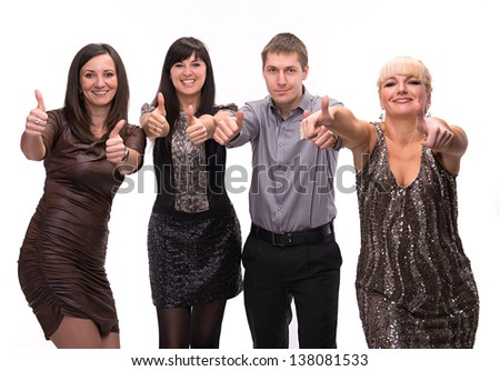 Group of happy business people showing sign of success isolated on white background