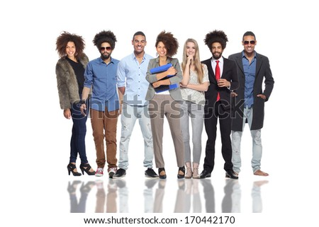 Group of happy business people standing together