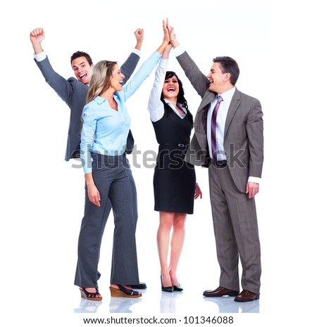 Group of happy business people. Success. Businessman. Isolated on white background. - stock photo
